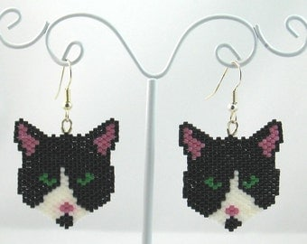 Beaded Black and White Cat Earrings