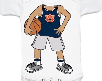 Auburn Tiger Heads Up! Basketball Player Baby Bodysuit