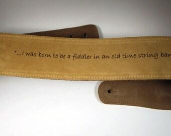 Custom Engraved Suede Guitar straps, custom guitar straps, guitar straps, personalized guitar straps, tan color