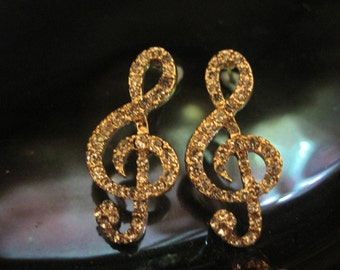 Gold Music Note Earrings - Stud Earrings - RhinestoneMusic Note Earrings - Music Note Earrings - Music Jewelry