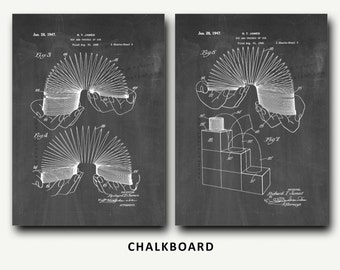 Slinky Patent Print Set - Wall Art Poster