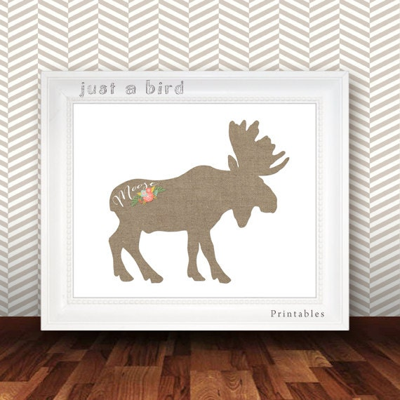 Canada Home Decor: Items Similar To Burlap Moose Print, Moose Home Decor