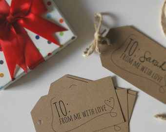 Gift Tag - From me with Love - INSTANT DOWNLOAD