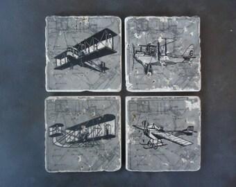 Vintage Airplane Coaster Set