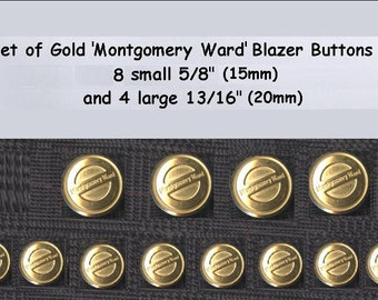 1 Set of Blazer Buttons Gold Metal Montgomery Ward Quality Blazer Buttons 8+4 vintage collector
