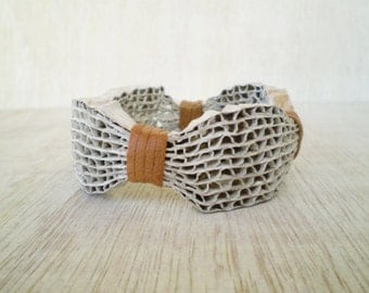 White Cardboard Bracelet Recycled Paper Bangle Bracelet Eco Friendly Ready to Ship FREE SHIPPING / Χειροπέδα από Χαρτόκουτα