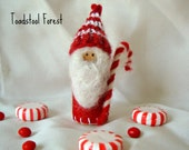 CIJ Old Peppermint, the Candy Cane Gnome ~ Waldorf Inspired Peg Doll ~ Christmas Ornament ~ Red &White ~ Peppermint Scent ~ Christmas Gnome