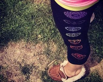 Chakra Print Capri-Style Crop Active Fit Dri-More Yoga Leggings | High Quality | Kundalini