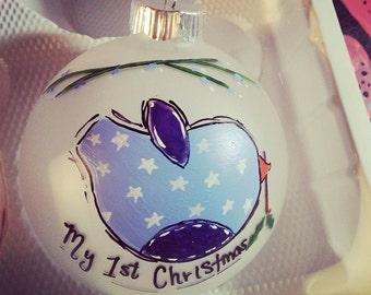 Handpainted Christmas Ornament - Baby's 1st Christmas