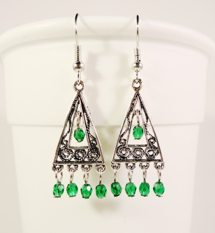 Green Chandelier Earrings Green Beaded Earrings Antique