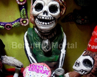 Beautiful Mortal Dia De Los Muertos Birthday Skeleton PRINT 477 Reproduction