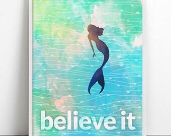 Ocean Mermaid Poster Believe Inspirational Dreams Beach Art Print Aqua Blue waves Teal turquoise Home decor Positive Energy Fashion Art