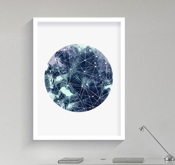 Geometric Art Moon Galaxy Sky Space Stars Print Geometric