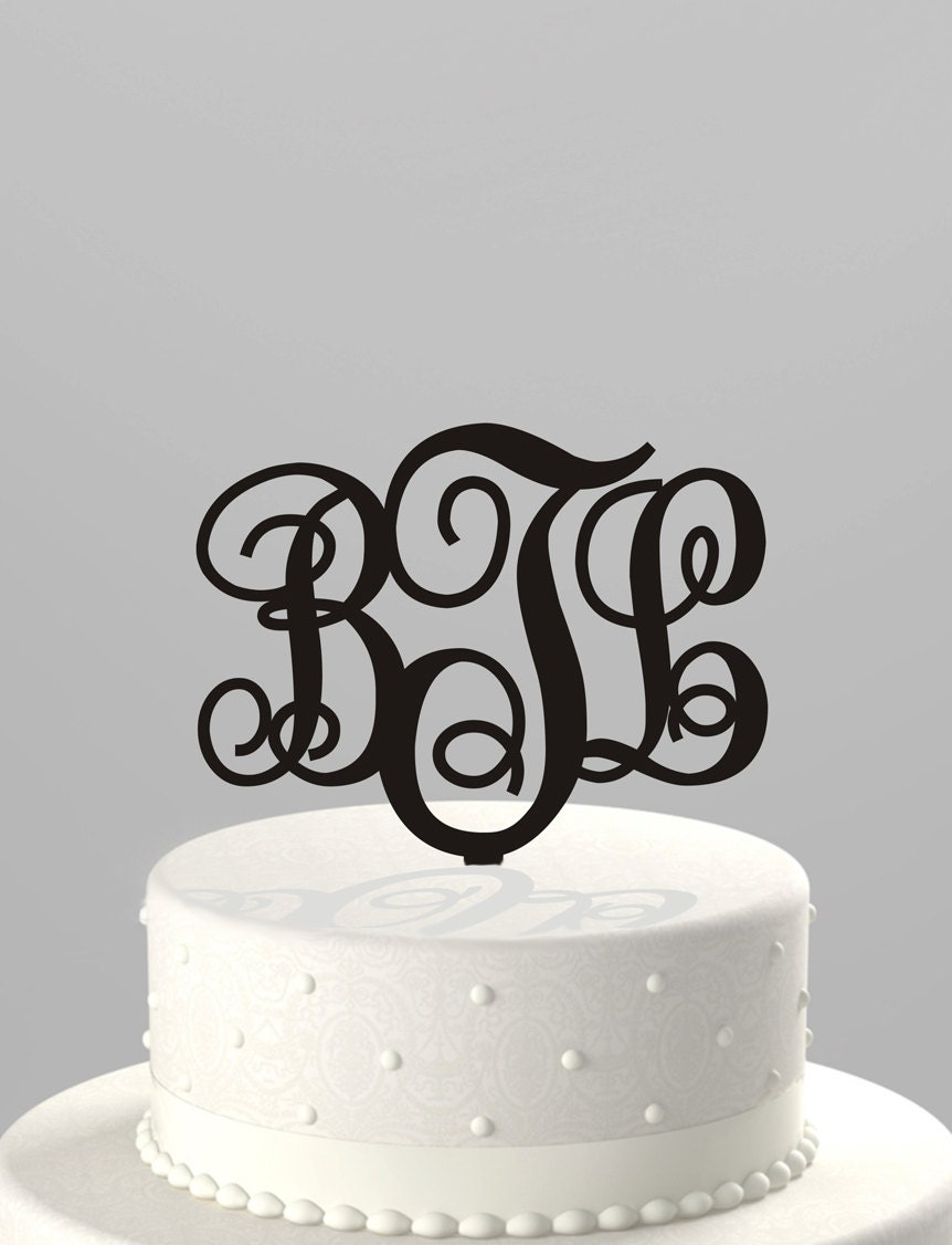 wedding cake topper monogram initials wedding cake topper couples monogram initials or birthday 26358