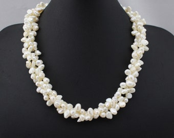 ETS-S031 pearl necklace, bridal necklace, 3 strands twisted chunky bib necklace, freshwater pearl necklace jewelry,  1 piece