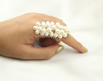 bridal ring with wish pearl cluster, freshwater pearl ring, fashion finger ring with spring, Cluster Ring,1 pc - ETS-J019
