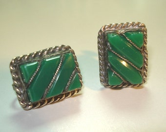 Vintage Mexican Jewelry Earrings Green Onyx Sterling Silver 02047