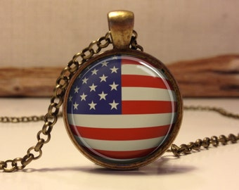 American Flag Necklace, Patriotic American Flag Necklace, American Flag Pendant, Independence Day Jewelry, 4th of July Necklace (flag#6)