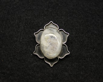 Moonstone Lotus Silver Pendant