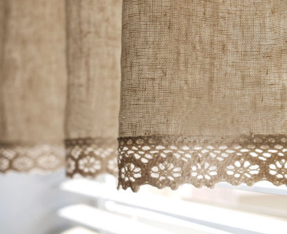natural linen cotton blend cafe curtain valance with cotton
