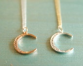 Rose Gold and Sterling Silver Moon Everyday Necklaces Handmade by BareandMe on Etsy, Dainty Bridesmaid Gift Ideas, Moon Necklaces on Etsy