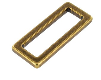 "B7103 1 3/4"" Antique Brass, Square Single Loop, Solid Brass-LL"