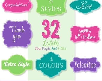 80% OFF SALE 32 Assorted Solid Pink, Purple, Teal, and Mint Labels, Digital Labels, Frame Clip Art, Digital Tags