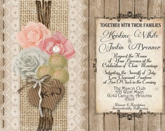 Burlap and Lace Wedding Invitation, Rustic, Wood Fence, Shabby Chic, Flowers, Digital File, Printable, 5x7