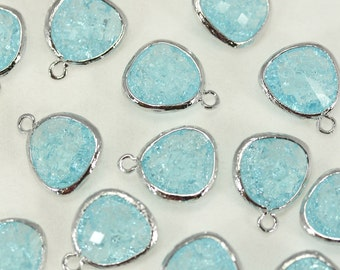 FG-018-SV Aqua blue / Aqua blue facet bezel framed glass Pendant glass beads silver plated Jewelry making supplies - annielov