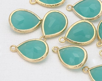 Mint Glass Pendants Polished Gold -Plated For Jewelry Making - 2 Pieces [G0019-PGMT]