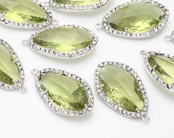 Apple Green Glass Pendant, Crystal Czech Stone.  Polished Rhodium -Plated - 2 Pieces [G0026-PRAG]