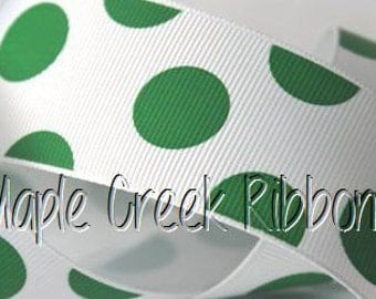 "1-1/2"" Emerald Green Party Dots Grosgrain Ribbon 1-1/2"" x 1 yard"