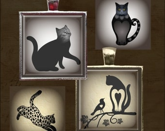 Cats In the Spotlight - Black and White, Sepia -One Inch Square Digital Collage Sheet