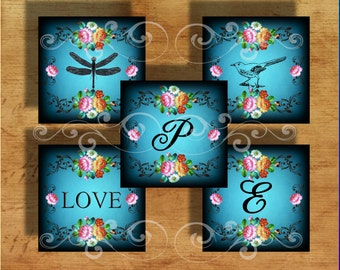 Midnight Romance- - Initials and Images - One InchSquare -Digital Collage Sheet