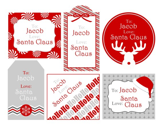 Personalized Printable Christmas Gift Tags from Santa Claus - 6 tags ...