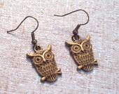 Antiqued Brass Owl Earrings, Bird Jewelry, Bronze Bird Pierced Dangle Earrings