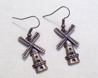 Holland Days, Antiqued Brass Windmill Earrings, Bronze Pierced Dangle Earrings