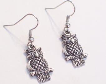 Antiqued Silver Owl on Branch Earrings, Little Silver Owls, Pierced Dangle Earrings