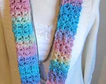 Crochet Cowl Multi Color in Pastels Very Pretty and Feminine Extra Long Cowl