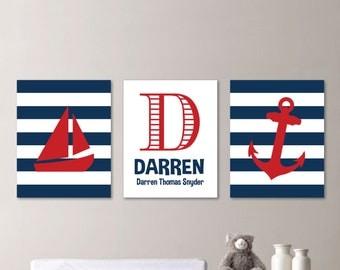 Baby Boy Nursery Art - Nautical Nursery Decor - Nautical Nursery Print -Nautical Nursery Art - Navy White Red - You Pick the Size (NS-576)