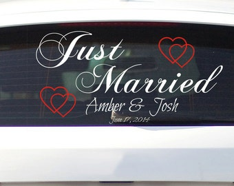 """Just Married Car Decal Removable Vinyl Lettering and Hearts for Wedding Car Decal 24.5"""" x 11.5"""""""