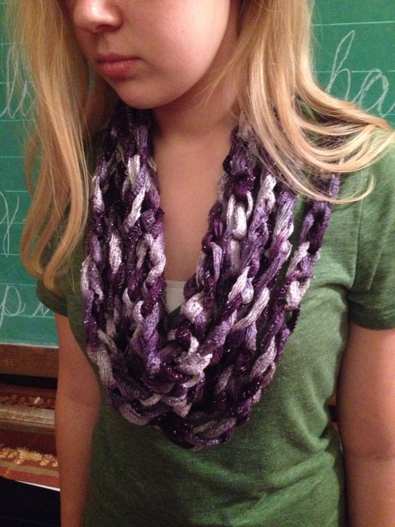 Boogie (Purple) Crocheted Infinity Chain Scarf, for Girls Teens Women