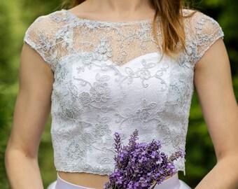 READY TO SHIP: bridal crop top / wedding crop top / crop top / lace top