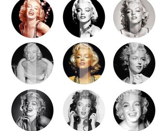 INSTANT DOWNLOAD - Marilyn Monroe 4x6 One Inch Digital Bottle Cap Images