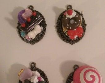 Handmade Sweets Deco Cameo Pendant necklace, premade designs or custom made