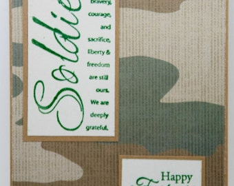 Military Father's Day card.  One hold gift card