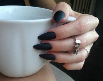 24 Matte Black Stiletto nails, matt black nails, Matte black press on nails