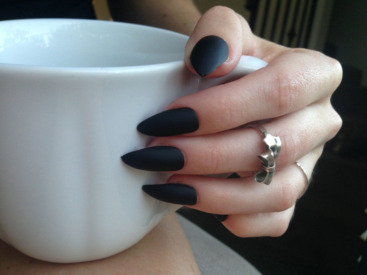 24 Matte Black Stiletto Nails