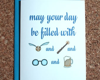 Harry Potter Card / filled with Harry Potter / Birthday card, wedding card, Valentine, anniversary card, love card