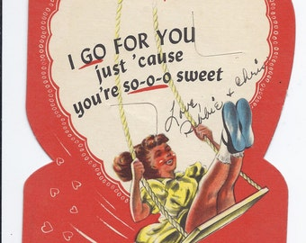 Vintage Valentine's day card, 1940s, girl on swing, lollipop slits, ERCO candies